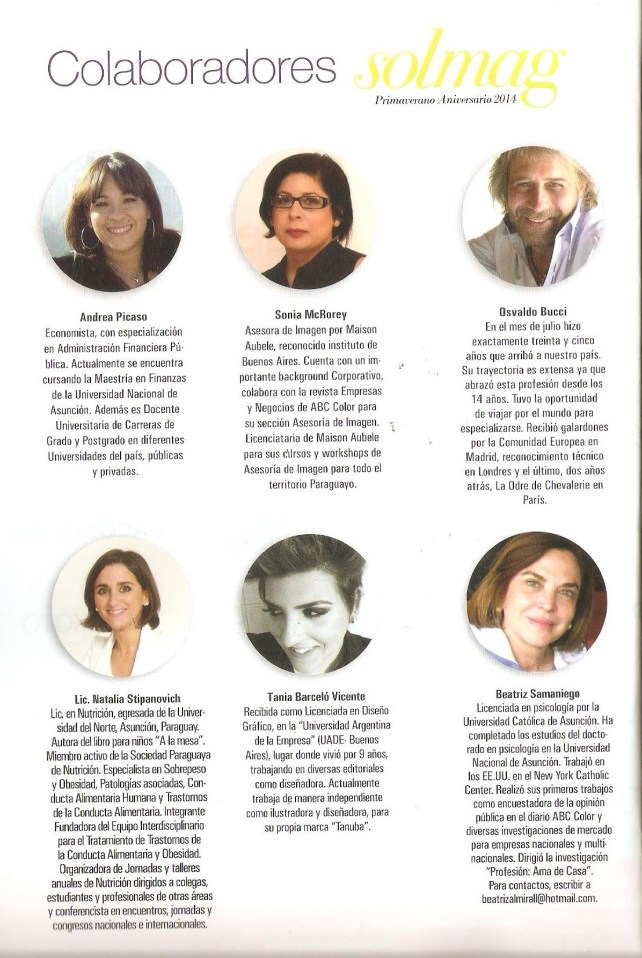 Colaboracion Solmag Sonia McRorey Asesora de Imagen Revista Shopping del Sol