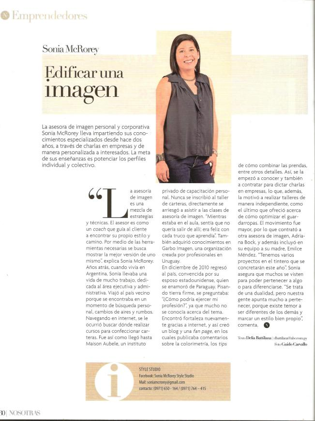 Nosotras abc - Sonia McRorey Asesora - Asesoria - asesor - asesoramiento de Imagen Personal y Corporativo - Personal Shopper- en Paraguay