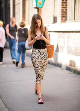 PARIS, FRANCE - JUNE 20: A guest wearing leopard print skirt is seen outside Y/PROJECT on day two of Paris Fashion Week Menswear SS19 on June 20, 2018 in Paris, France. (Photo by Christian Vierig/Getty Images)