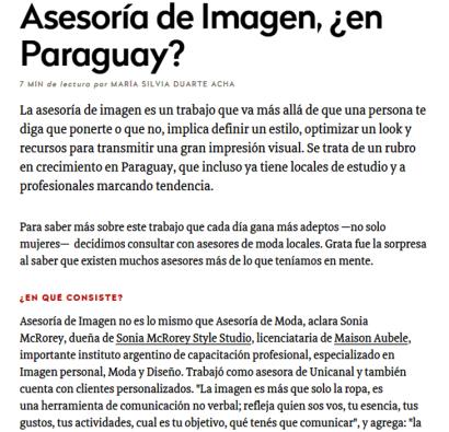 Nota Ejempla Asesoria de Imagen en Paraguay Sonia McRorey Asesoria de Imagen Curso