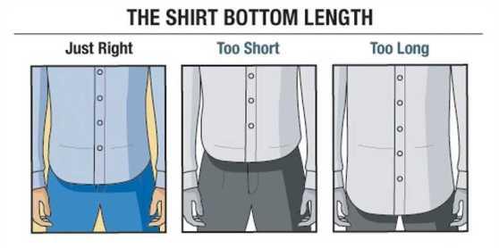 Largo correcto de la camisa - Muy Corto - Muy Largo