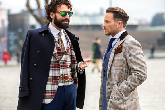 EXCLUSIVE Members of the public posing for streetstyle photos during Pitti Uomo 86 W 201